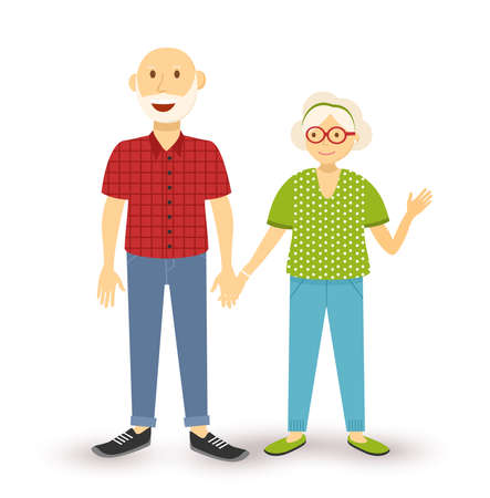 old happy couple: People collection: happy old elder grandparent couple with grandfather and grandmother in flat style illustration. Illustration
