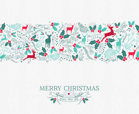 decoration: Merry christmas seamless pattern background with nature reindeer and holly shapes. Ideal for holiday greeting card or xmas invitation.