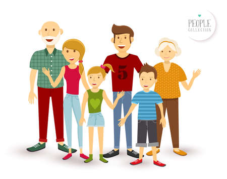 sons: People collection: happy family group generation with dad mom, children and grandparents in flat style illustration.  Illustration