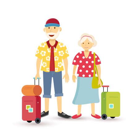 bagagli: Elder delle coppie nonno famiglia viaggi vacanze estive con la valigia, illustrazione gruppo di persone in stile art piatta.