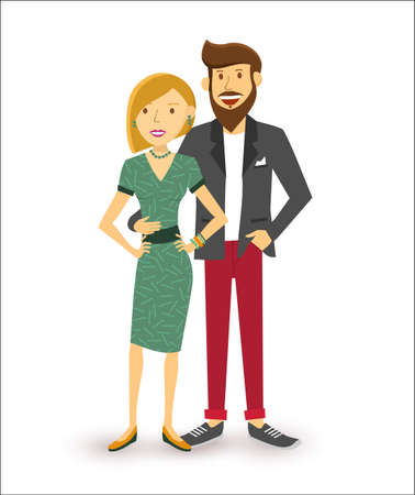 Elegante glückliche Paar lächelnd, Menschen, Gruppe Flach Kunst Illustration.