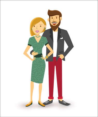 mom dad: Elegante feliz pareja sonriente, grupo de personas arte plano ilustración. Vectores