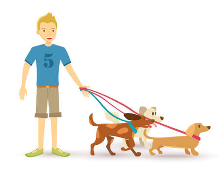 animal lover: Best man friend. Happy teen taking family pet dogs for a walk  illustration in flat art style.