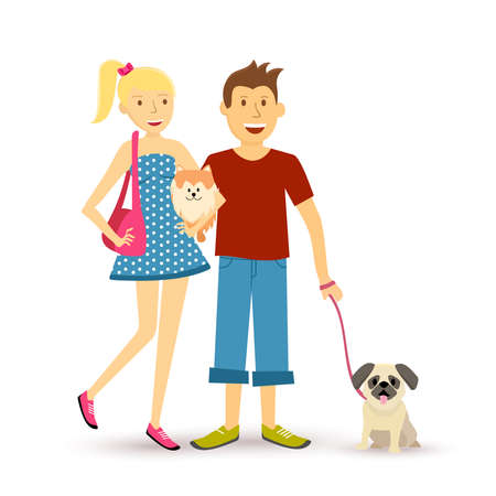 Dog lovers family group illustration in flat art style. Young happy couple taking pet and puppy for a walk.