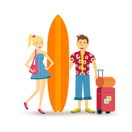 happy couple beach: Young happy couple travel summer beach vacation with suitcase and surf board family group illustration in flat art style.