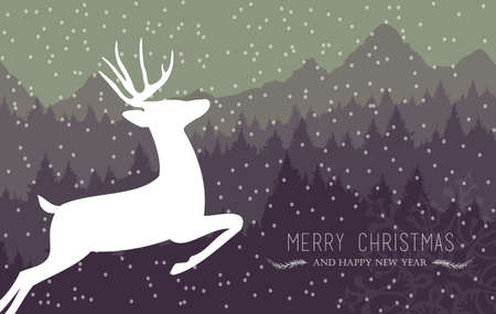 christmas greeting card: Merry christmas and happy new year winter card with holiday reindeer, snow and pine tree forest background. Ideal for xmas card, party invitation or web.  Illustration