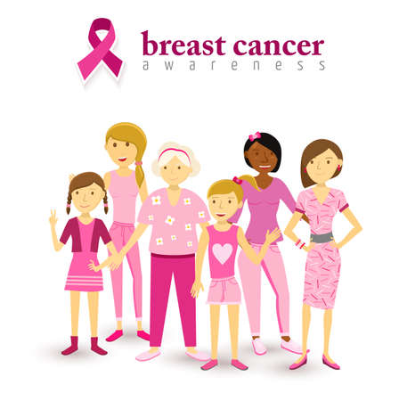Breast cancer awareness group of multi generation women flat art style dressed in pink together with text and ribbon. Stock Vector - 46634156