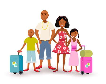 Glückliche Afroamerikanerfamilie mit Eltern und Kindern reisen Sommerferien zusammen, Leutegruppe in der flachen Kunstart. Vektorgrafik