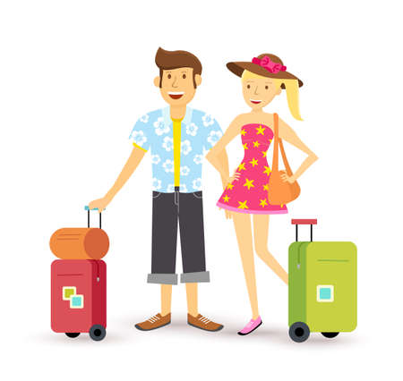해외로: Young happy couple travel abroad summer with suitcase, family group illustration in flat art style.