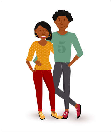 Young happy african american couple smiling in flat style illustration. EPS10 vector. Vettoriali