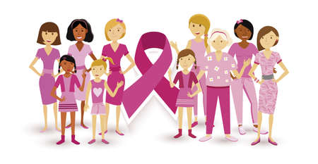 Breast cancer awareness multi generation women in flat style united around pink ribbon for support.