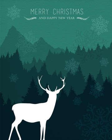 renna: Buon Anno disegno Natale felice nuovo con le renne di vacanza, neve e pineta sullo sfondo. Ideale per carta natale, l'invito del partito o web. Vettoriali