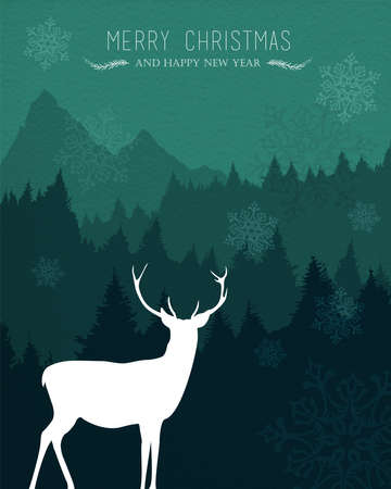 seasons greeting card: Merry christmas happy new year design with holiday reindeer, snow and pine tree forest background. Ideal for xmas card, party invitation or web.
