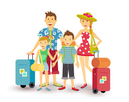 family: Happy family of parents and children travel summer vacation with suitcase, people group illustration in flat art style.