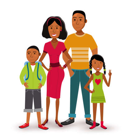 teenagers love: People collection: nuclear family group generation with dad, mom, son and daughter in flat style illustration.