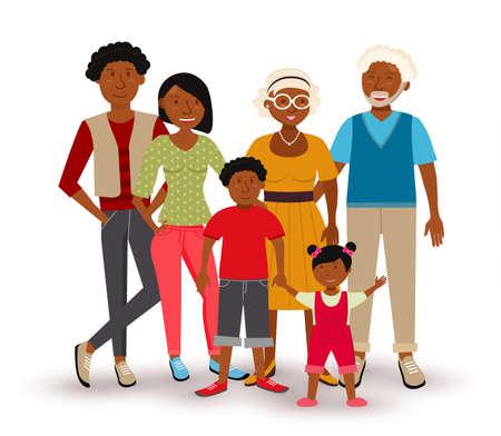 Mensen collectie: Gelukkig multi generatie gezin met vader, moeder, kinderen en grootouders in vlakke stijl illustratie.