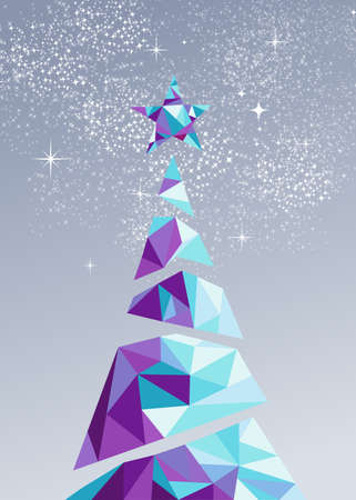 Merry christmas and happy new year holiday pine tree with star in low poly abstract triangle style. Ideal for greeting card, party invitation or winter poster.
