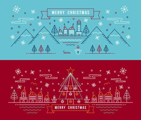 Merry christmas banner in omtrek lineaire stijl. City met sneeuwpop, kerstboom en wintervakantie elementen. Stock Illustratie