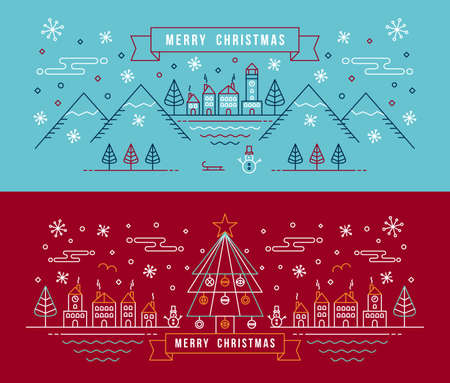 red cards: Merry christmas banner set in outline linear style. City with snowman, xmas tree and winter holiday elements.