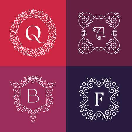 mono: Ornament monogram style mono line floral letter frame set.  Illustration