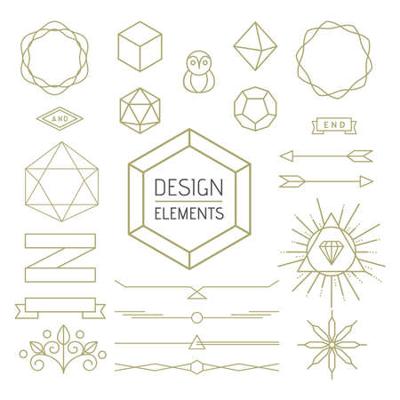 mono: Design elements set mono line outline style. Includes geometry badges, lettering symbols, signs and icons.