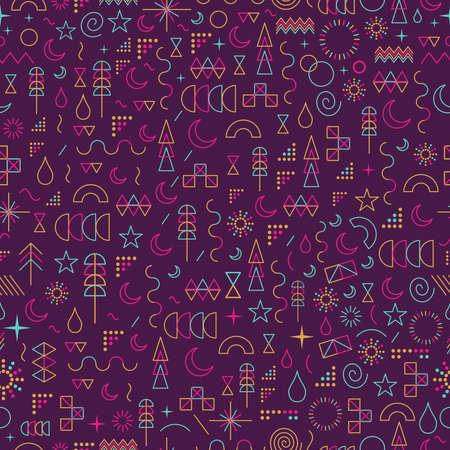 カラフルな幾何学の要素を持つライン アート スタイルでシームレスなパターン。  イラスト・ベクター素材