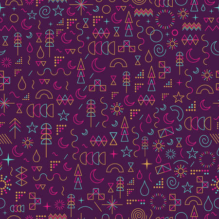 Seamless pattern in line art style with colorful geometry elements.  Çizim