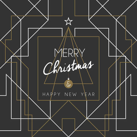 albero pino: Merry christmas and happy new year holiday greeting card. Geometry lines, art deco style with vintage xmas pine tree. EPS10 vector.
