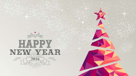 new year background: Happy new year 2016 holiday decoration greeting card or poster design with colorful triangle christmas pine tree and vintage label illustration.  Illustration