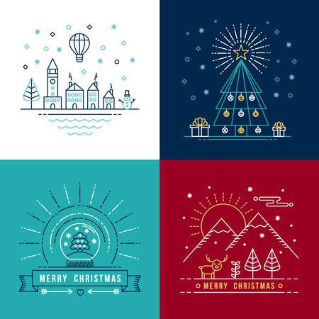 arte moderno: Feliz etiqueta esquema conjunto de Navidad con la ciudad de invierno, �rbol de navidad, bola de nieve, y los elementos de renos. Ideal para la invitaci�n de fiesta o tarjeta de felicitaci�n. Vectores