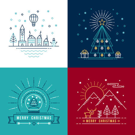 illustration line art: Merry christmas outline label set with winter city, xmas tree, snow globe, and reindeer elements. Ideal for holiday invitation or greeting card.