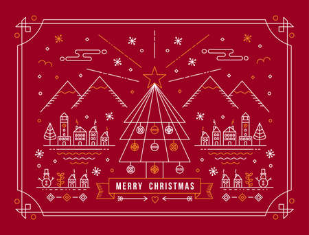 Merry christmas card in outline linear style. Mountain city design with xmas tree, snow, and holiday winter elements. EPS10 vector. Illustration