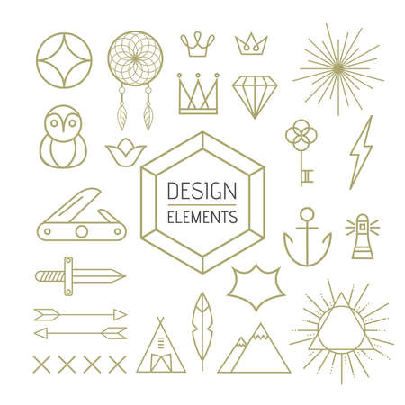 includes: Design elements set in outline line art style. Includes boho, nature, and geometry shapes.