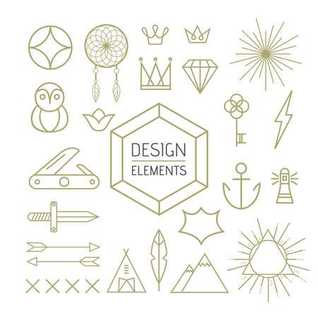 streckbilder: Design elements set in outline line art style. Includes boho, nature, and geometry shapes.