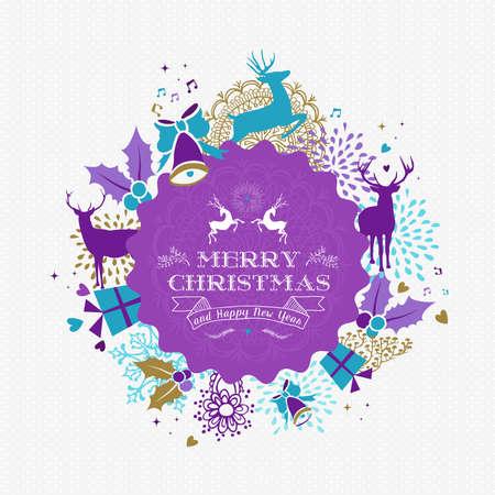 Merry christmas Gelukkig Nieuwjaar design met vintage rendieren label en vakantie elementen