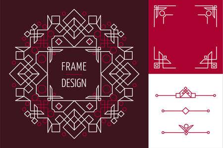 アールデコ モノラル ライン フレーム デザインとレタリング ジオメトリ要素のセット