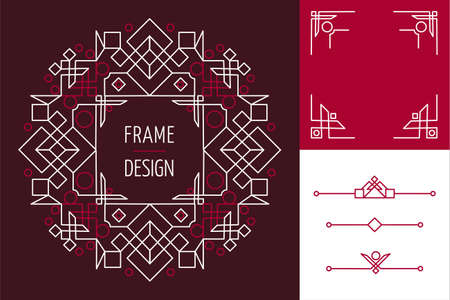 Set of art deco mono line frame designs and lettering geometry elements Illustration