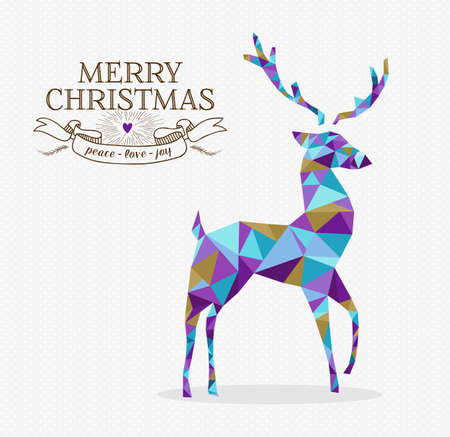 renna: Buon forma renne di Natale in stile triangolo origami pantaloni a vita bassa con etichetta di testo