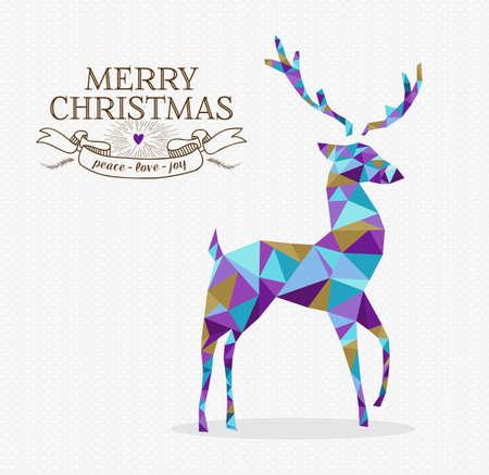 renos navide�os: Feliz Navidad en forma de reno tri�ngulo origami estilo inconformista con etiqueta de texto Vectores
