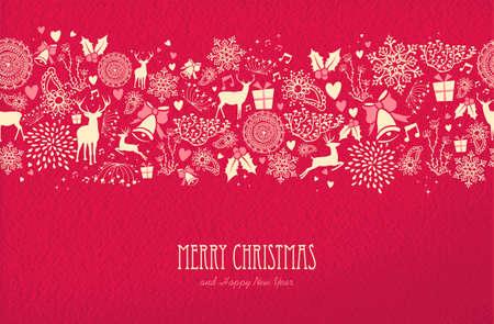 Merry christmas Gelukkig Nieuwjaar naadloze patroon ontwerp op rood textuur achtergrond