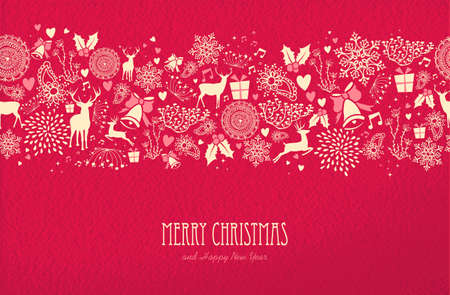 Merry christmas happy new year seamless pattern design on red texture background