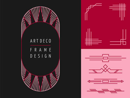 line art: Set of art deco geometry frame designs and mono line lettering elements