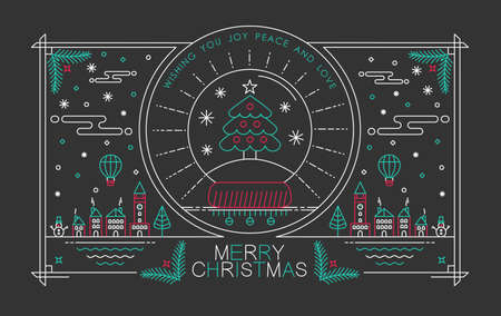 Merry Christmas outline style design with snow globe pine tree badge Illustration