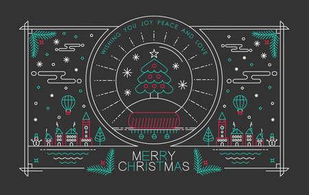 tree design: Merry Christmas outline style design with snow globe pine tree badge Illustration