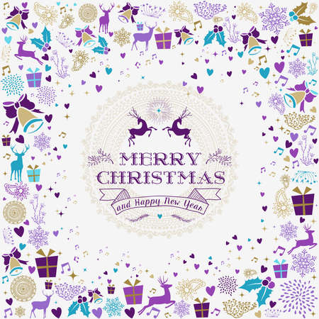 Merry christmas happy new year design with vintage reindeer label and holiday elements