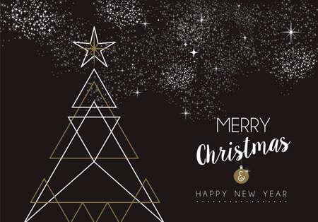 Merry christmas happy new year pine tree design in art deco Illustration