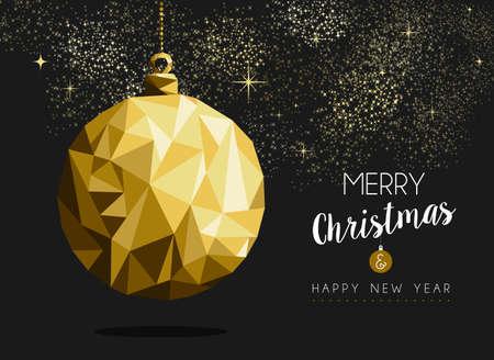 fond de texte: Happy new year ornement d'or de fantaisie forme Boule de No�l Merry dans le style origami hipster