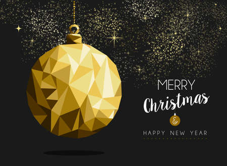 retro christmas: Merry christmas happy new year fancy gold ornament bauble shape in hipster origami style