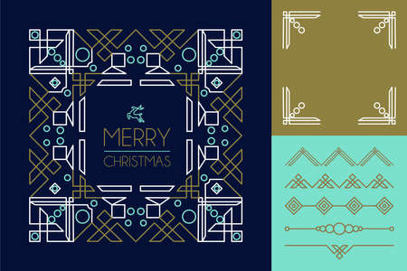 christmas graphic: Merry christmas mono line set of frames and lettering elements in abstract art deco style Illustration