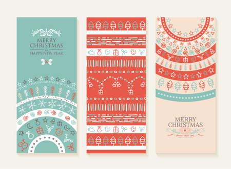 Frohe weihnachten frohes neues Jahr Reihe von Bannern und nahtloses Muster Illustration